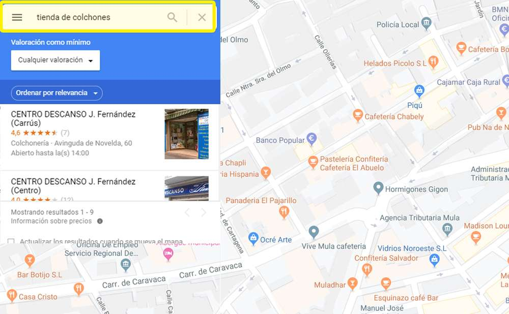 Búsqueda sin optimización del Local SEO