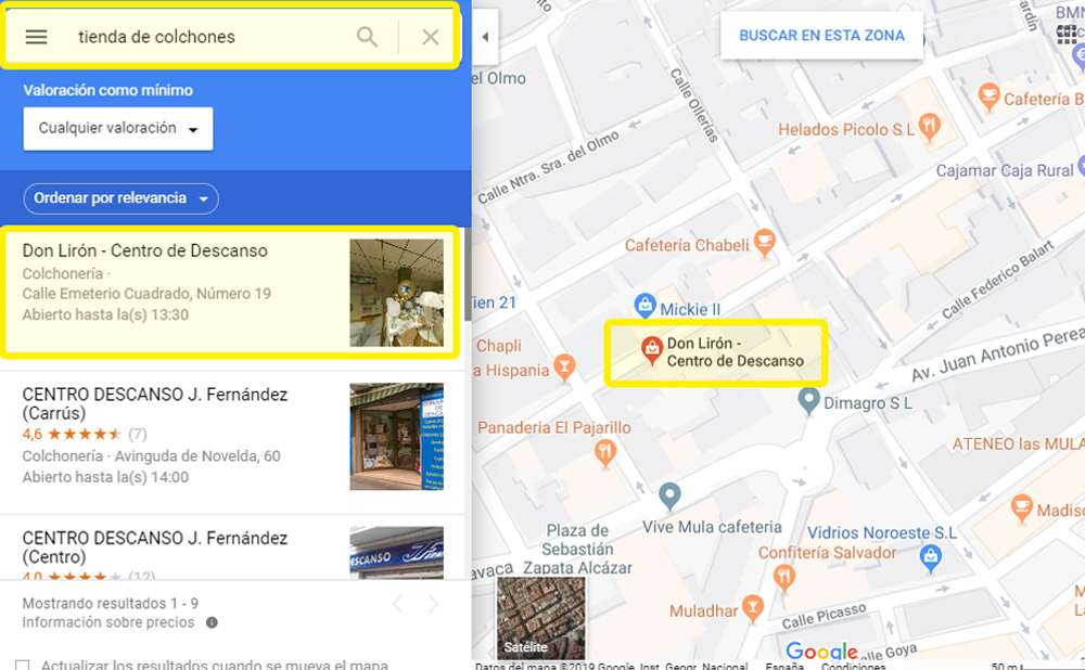 Búsqueda con optimización del Local SEO